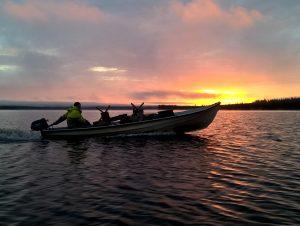 A fishing boat in Lake Miekojärvi in Pello in western Lapland