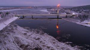 Lumberjack's Candle Bridge and frozen Kemijoki river in Rovaniemi