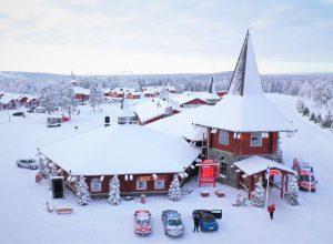Christmas House in winter in Santa Claus Village in Rovaniemi, Finland