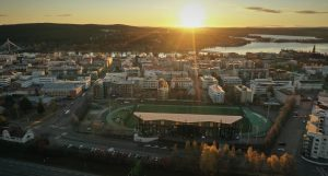 Sunrise over the city of Rovaniemi in summer