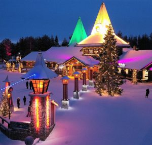Main square of Santa Claus Village and the Arctic Circle line in Rovaniemi, Lapland