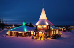 Christmas House during blue moment in Santa Claus Village in Rovaniemi, Finland