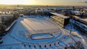 Rovaniemi Football Stadium in winter