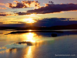 Midnight sun in Lapland in Finland