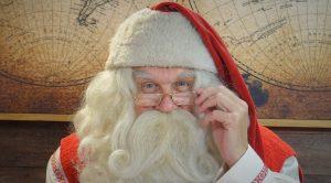 Santa Claus in Lapland (Finland) smiling to camera