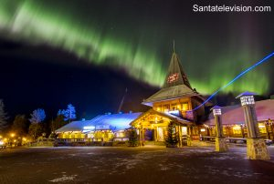 Santa Claus Village in Rovaniemi in Lapland in October under the Northern Lights