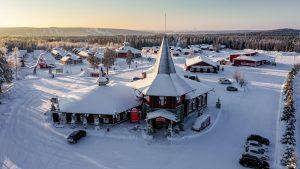 Christmas House in Santa Claus Village in winter in Rovaniemi, Lapland
