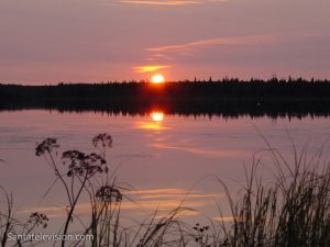 Sunset in Lapland in August