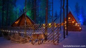 The reindeer are waiting Santa Claus at Santa Claus Village in Lapland