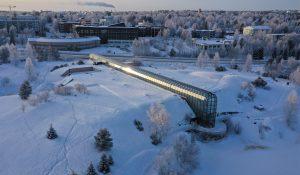 Le musée Arktikum en hiver à Rovaniemi en Laponie