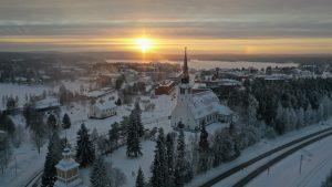 Center of Kemijärvi in Lapland during winter by air