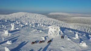 Snowmobiles on Mount Ruuhitunturi in Salla, Lapland