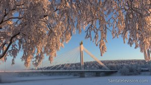 Winter-time Rovaniemi and the Lumberjack's Candle Bridge in city centre
