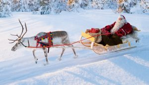 Joulupukin lähtö Korvatunturilta - Joulupukki ja poro rekiajelu Lapissa
