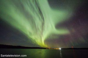 Les aurores boréales à Rovaniemi en Laponie, Finlande