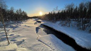 Frozen river in Salla, Lapland in winter