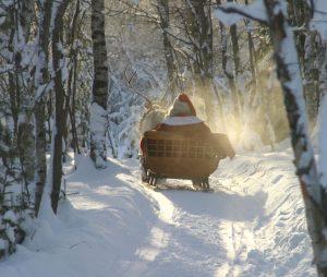Papá Noel y renos en la Laponia finlandesa