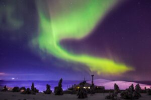 Aurores boréales à Levi en Laponie, Finlande
