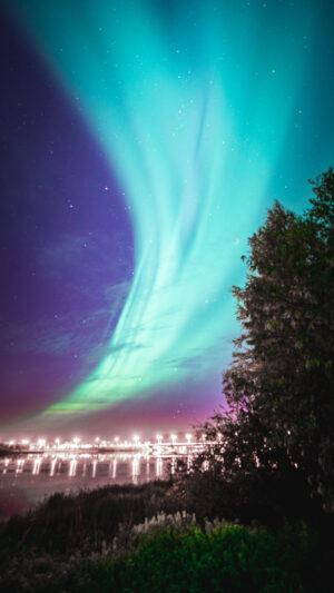 Aurores boréales au-dessus de Rovaniemi en Laponie finlandaise
