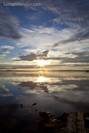 Coucher de soleil à Ranua en Laponie, Finlande