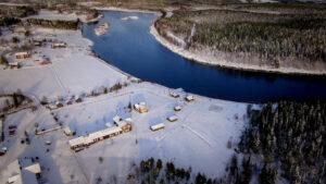 Le Village des Elfes vu du ciel à Levi en Laponie finlandaise