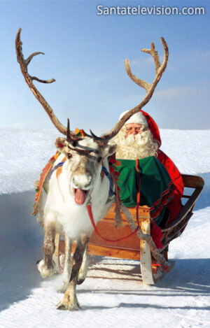 Rentierschlittenfahrt des Weihnachtsmannes in Rovaniemi, Finnland